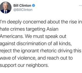 """빌 <!HS>클린턴<!HE> """"아시아계 미국인 겨냥 혐오범죄 증가에 깊은 우려"""""""