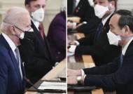 79세 바이든, 73세 스가와 의료용 마스크 두겹 쓰고 회담