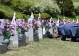 [지금 이 시각]'아버지 또 올게요', 4·19혁명 61주년 앞둔 민주묘지