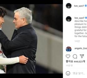 """""""함께 해서 진심으로 감사""""...<!HS>손흥민<!HE>, 모리뉴에게 작별인사"""