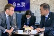 文대통령, 佛마크롱 대통령과 10분간 회담, 방역·경제 상황 공유