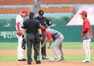 [포토]김광현,마운드 정리가 필요해