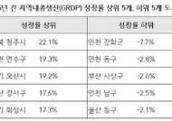 기초지자체 성장률, 인천 연수구·경기 오산·화성 전국 2,3,5위