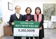성남아트센터 후원회, 성남시 저소득층 어린이 위한 후원금 기탁