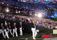 런던 올림픽 파크 주경기장 들어서는 한국 선수단