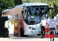 디킨 스타디움 들어서는 대표팀 버스