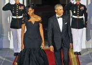 베라왕이 디자인한 검정색 드레스 입은 미셸 오바마