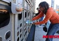도살장 끌려가는 돼지에게 물 주는 동물보호운동가