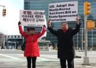 뉴욕한인단체 북한대표부-중국총영사관-유엔본부 사상 첫 릴레이 시위…마영애 회장 등 유엔본부 시위