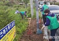 손님맞이 제초작업하는 충주 새마을협의회원들