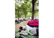 숲 속에서 잠 청하는 청년 참가자들