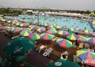 한강여의도수영장에 즐비한 파라솔