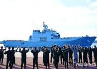 해군제주기지에 입항하는 3군 사관생도 합동순항훈련전단