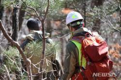 불법움막 철거에 나선 태백산국립공원관리사무소 직원들