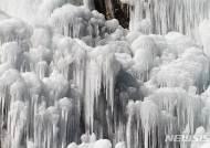 한파경보에 꽁꽁 얼어붙은 인공폭포