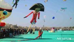 인도 구자라트국제연축제, 제트푸르시 후크선장연과 대형 태극기연