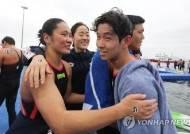 [광주세계수영] 한국 최초 오픈워터 대표팀, 마지막 경기 뒤 눈물 펑펑