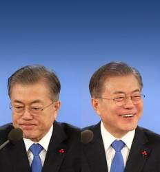 경제 묻자 굳은 표정 北 이슈엔 환한 미소  90분 응축한 두 장면